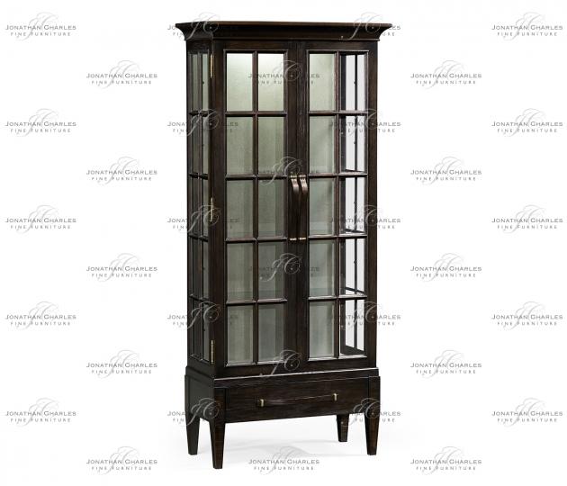 small rushmore Tall Dark Ale Plank Glazed Display Cabinet
