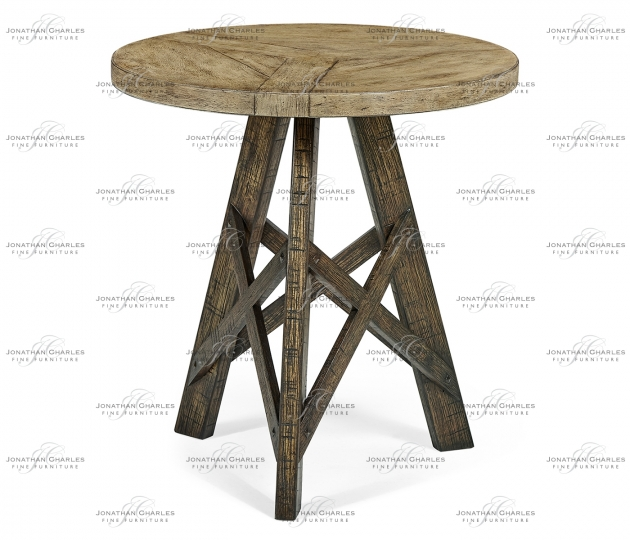 small rushmore Rustic Circular Planked Light & Dark Driftwood Lamp Table