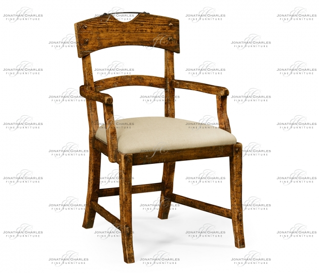small rushmore Planked Country Walnut Arm Chair, Upholstered in MAZO