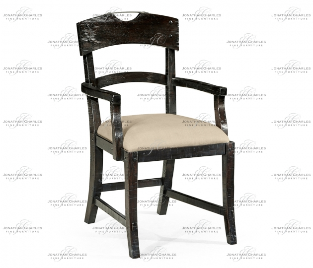 small rushmore Planked Dark Ale Dining Arm Chair, Upholstered in MAZO
