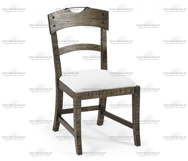 small rushmore Planked Dark Driftwood Dining Side Chair, Upholstered in COM