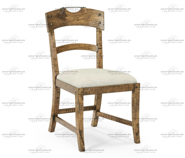small rushmore Planked Medium Driftwood Dining Side Chair, Upholstered in Shambala