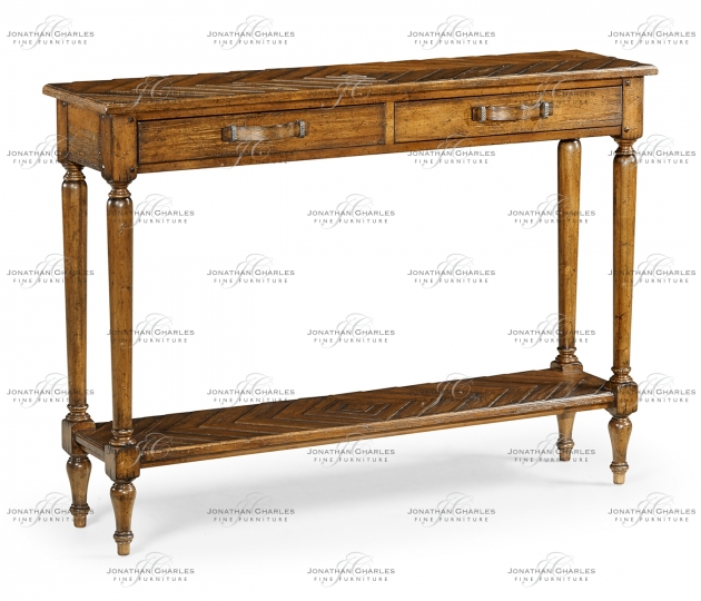 small rushmore Country Walnut Parquet Console Table