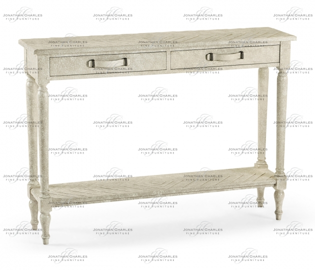 small rushmore Whitewash Driftwood Parquet Console Table