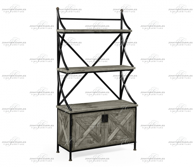 small rushmore Antique Grey Baker's Rack Étagère