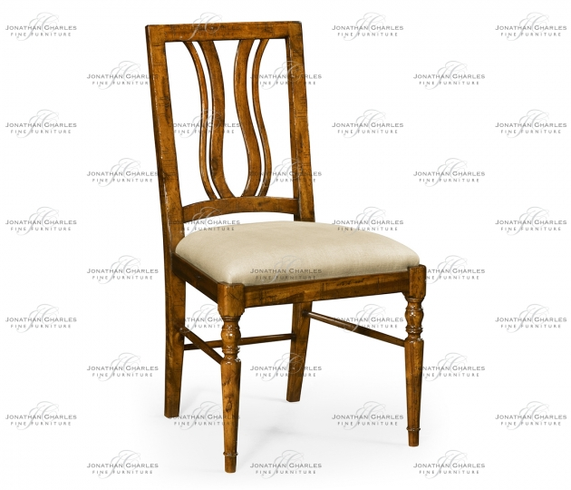 small rushmore Country Walnut Curved Back Side Chair, Upholstered Seat in MAZO