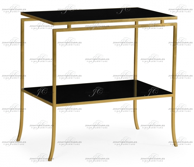 small rushmore Gilded Iron Rectangular Side Table with A Black Glass Top