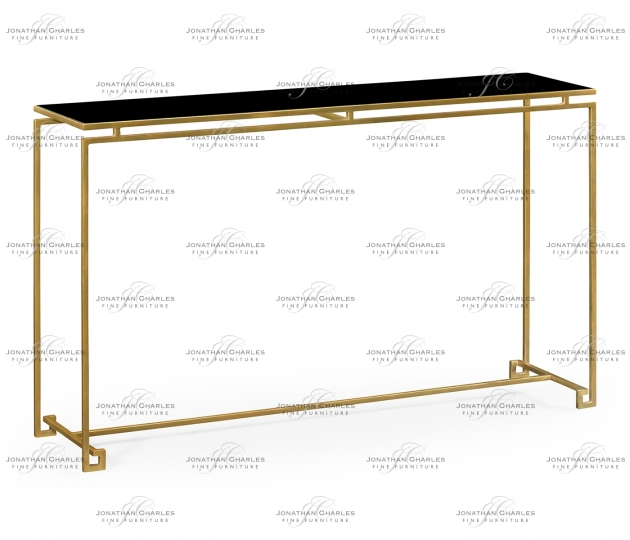 small rushmore Gilded Iron Large Console Table with A Black Glass Top