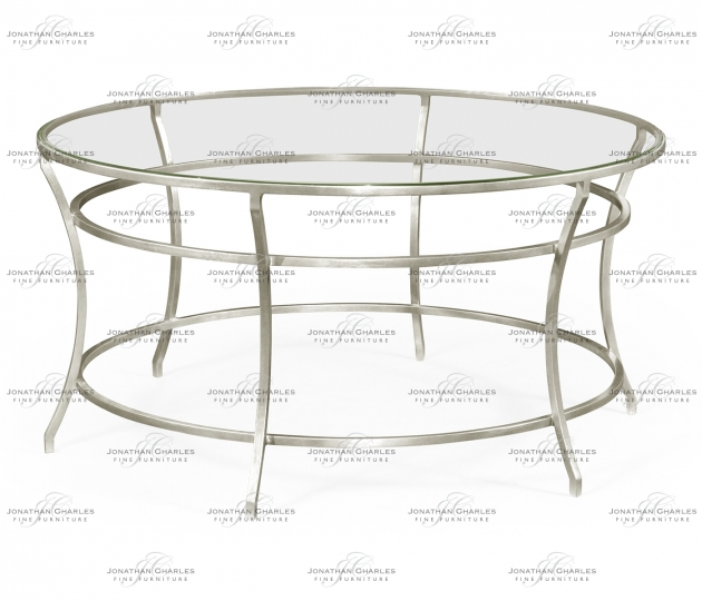small rushmore Silver Round Iron Coffee Table with A Clear Glass Top