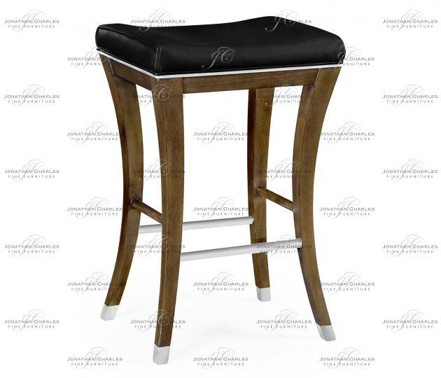 small rushmore American Walnut Counter Stool, Upholstered in Black Leather