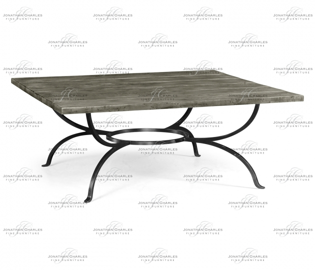 small rushmore Antique Dark Grey Panelled Square Coffee Table