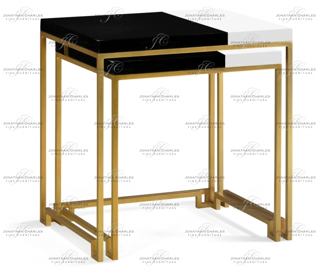 small rushmore Gilded Iron Nesting Table with Smoky Black and Biancaneve Top