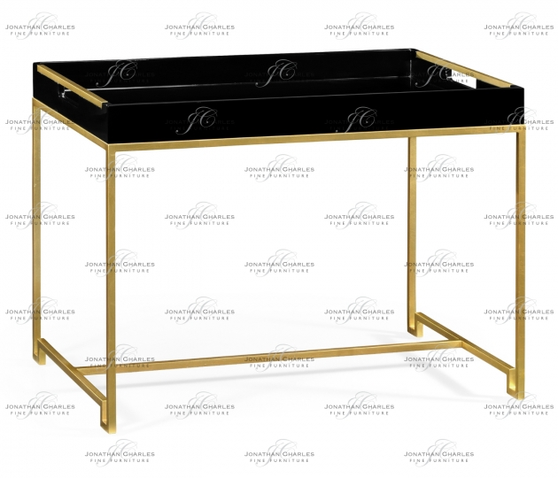 small rushmore Gilded Iron Tray Table in Smoky Black Top