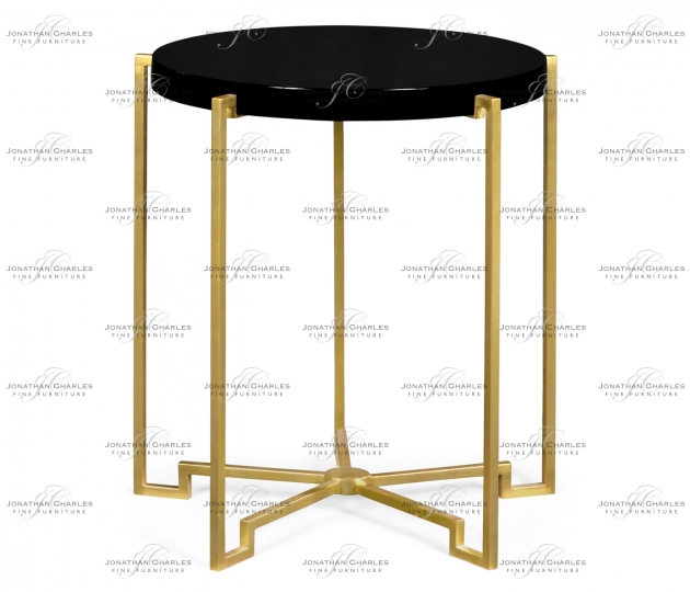small rushmore Gilded Iron Round Lamp Table with Smoky Black Top