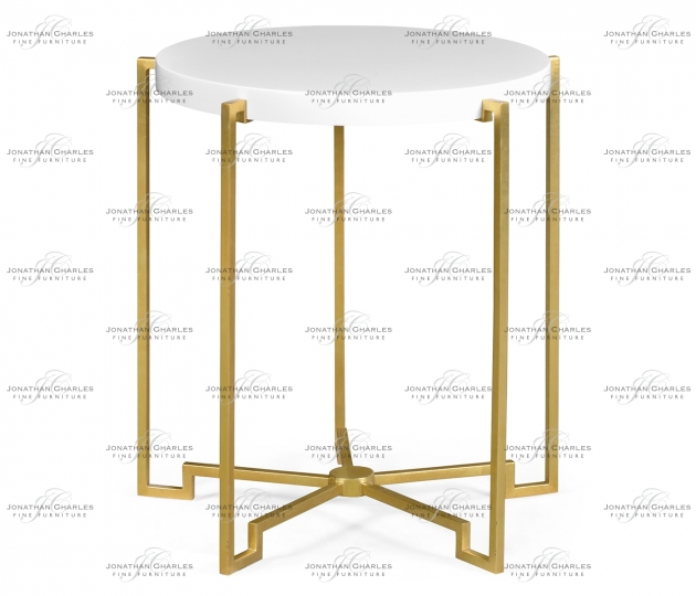 small rushmore Gilded Iron Round Lamp Table with Biancaneve Top