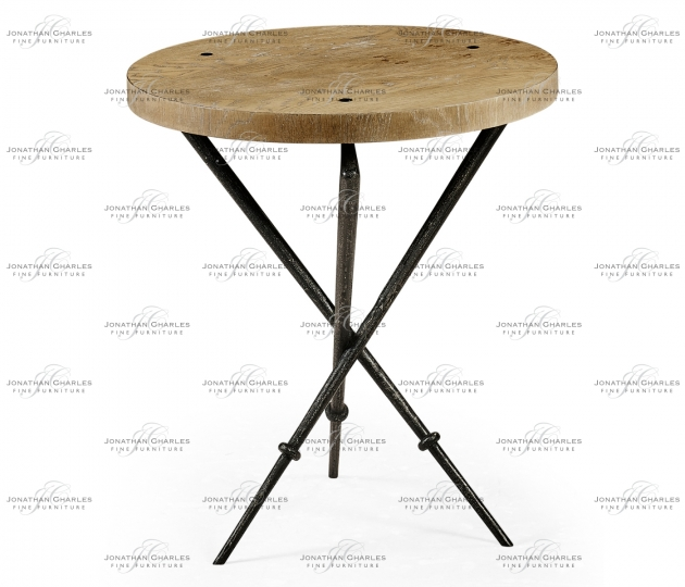 small rushmore Round Lamp Table with Iron Base