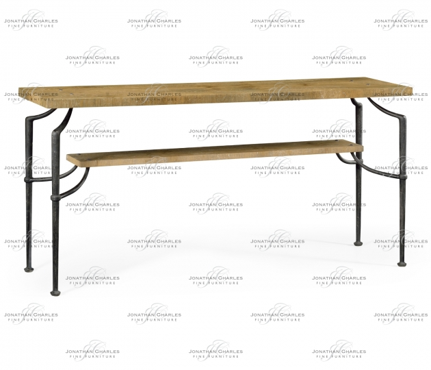 small rushmore Rectangular Console Table with Iron Base