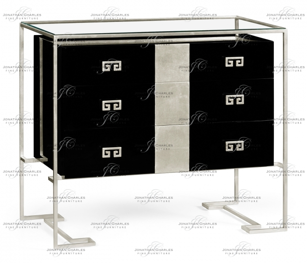 small rushmore Silver Iron Chest of Drawers in Smoky Black