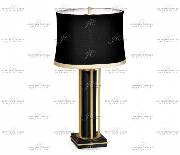 small rushmore Gilded Iron Table Lamp in Smoky Black
