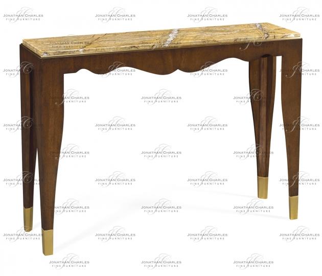 small rushmore Mahogany console table with Bidasar Gold marble top