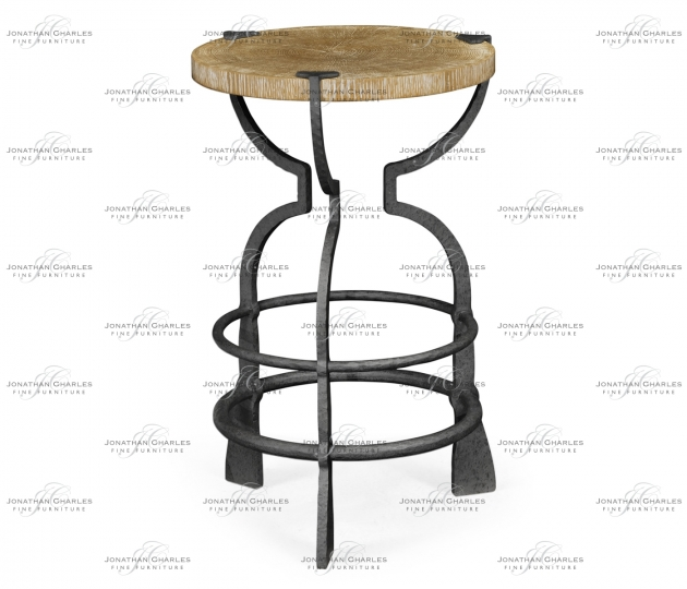 small rushmore Round Limed Chestnut & Iron Wine Table