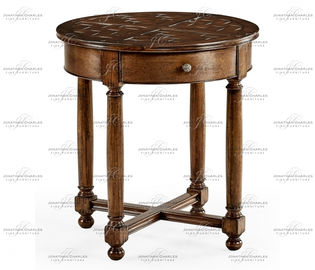 small rushmore Round parquet topped side table
