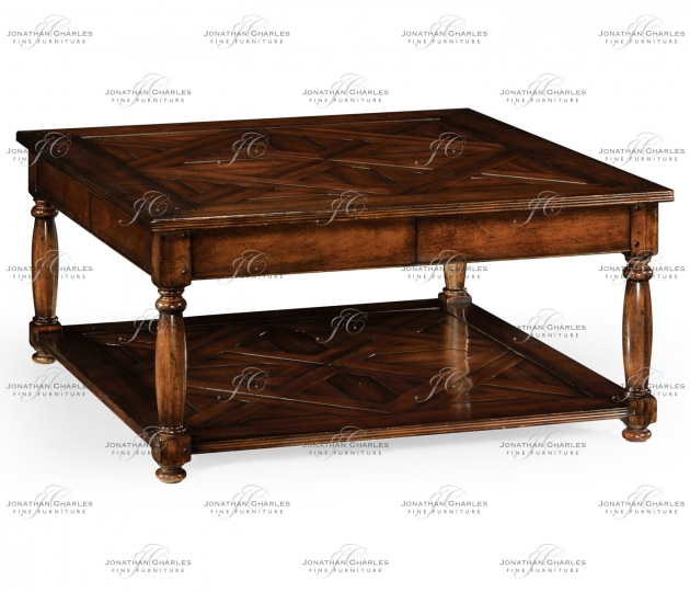 small rushmore Square parquet topped coffee table