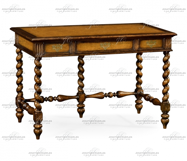 small rushmore Leather & walnut turned desk