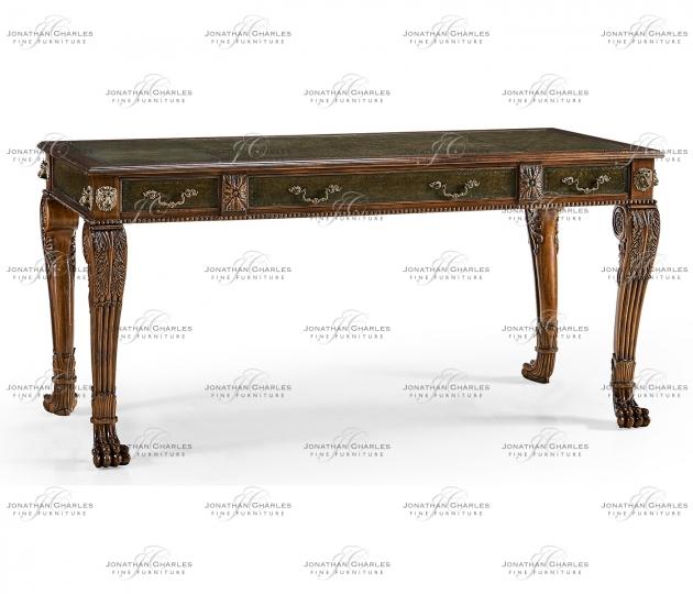 small rushmore Italian Lions Paw Desk (Leather & Walnut)