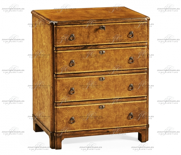 small rushmore Bow front chest of four drawers (Walnut)