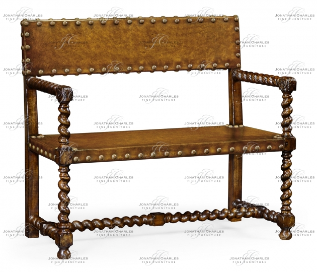 small rushmore Tudor style leather bench (Walnut)