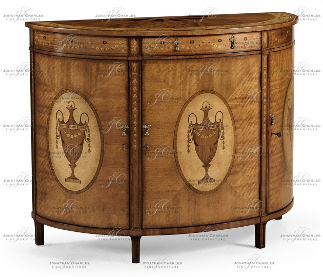 small rushmore Adam Style Satinwood & Marquetry Demilune Cabinet