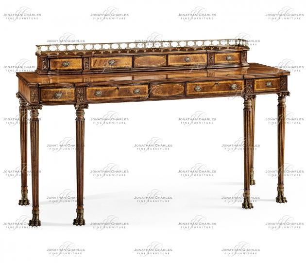 small rushmore Crotch walnut buffet or serving table with brass gallery