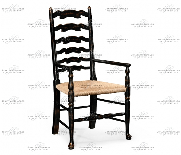 small rushmore Black Painted Ladder Back Chair (Arm)