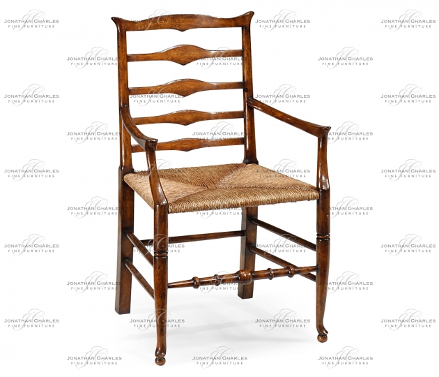 small rushmore Triangular detail ladder back chair with rush seat (Arm)