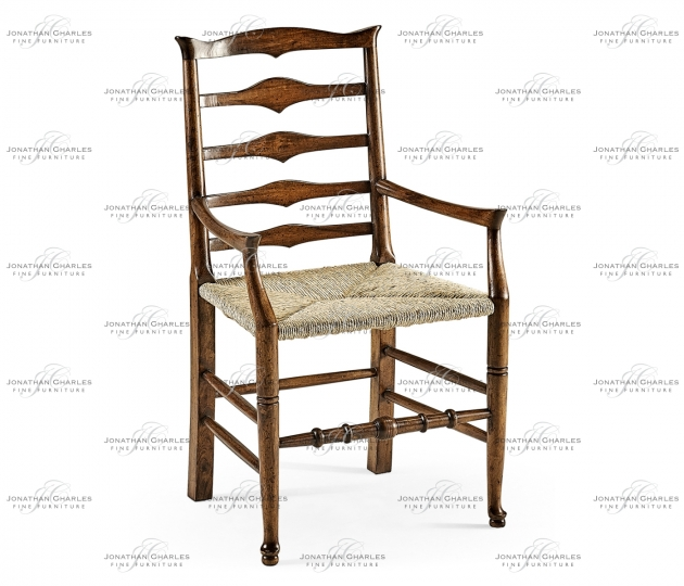 small rushmore Triangular Detail Ladder Back Dining Arm Chair with Rushed Seat