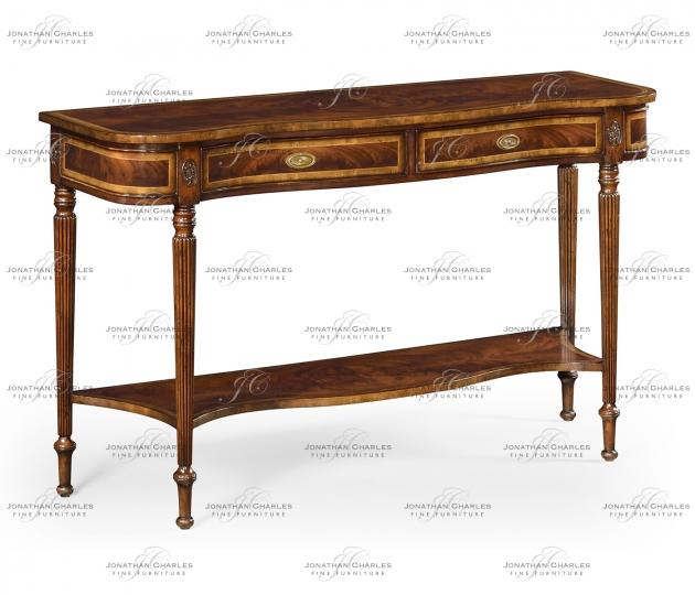 small rushmore Serpentine mahogany console
