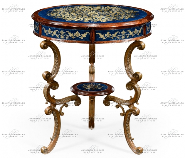 small rushmore Lapis blue églomisé with mahogany and brass side table