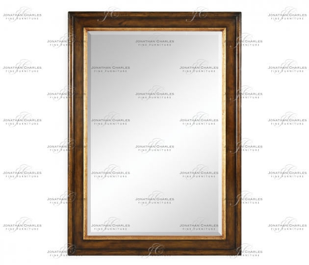 small rushmore Plain walnut rectangular mirror with gilt inset