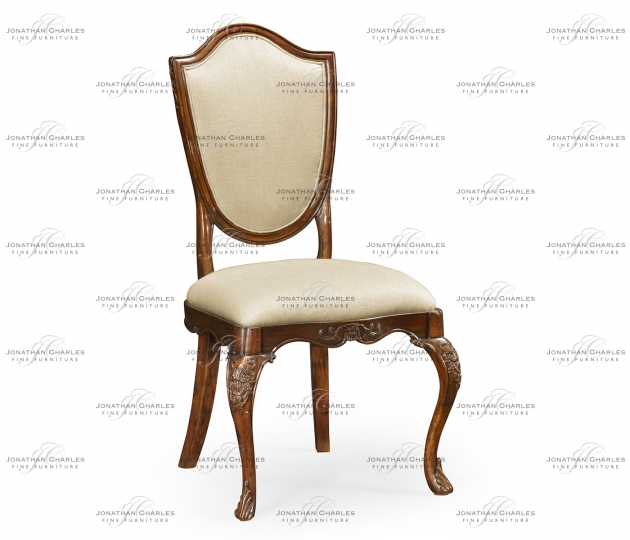 small rushmore Shield back mahogany side chair with medium antique uhpholstered in MAZO