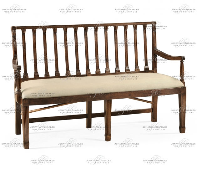 small rushmore Walnut two seat bench with column back
