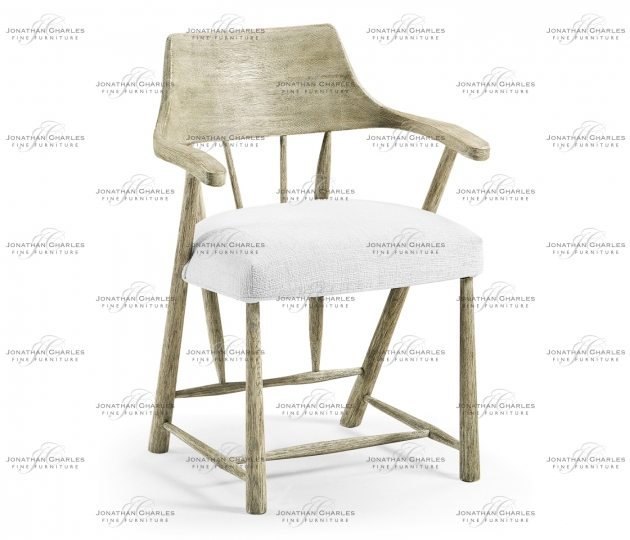 small rushmore Grey Oak Dining Armchair with Fabric Seat, Upholstered in COM
