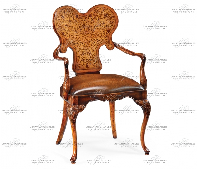 small rushmore Seaweed Marquetry Armchair with Antique Brown Leather Seat