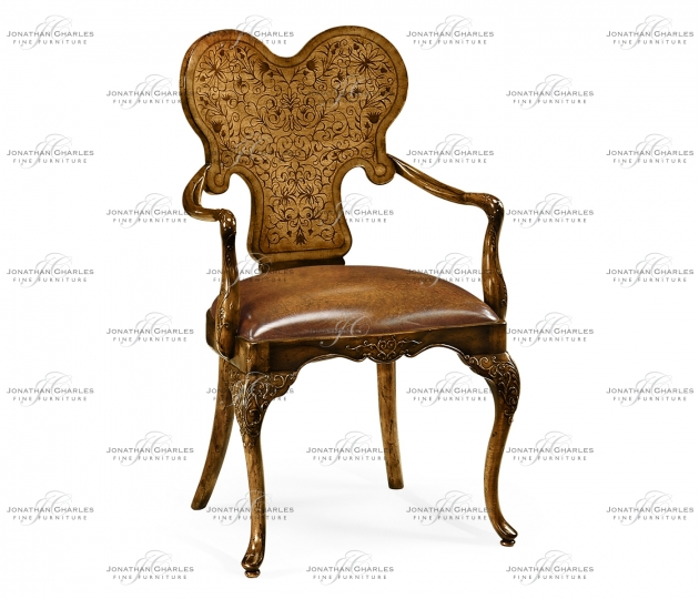 small rushmore Seaweed Marquetry Arm Chair with Antique Brown Leather Seat