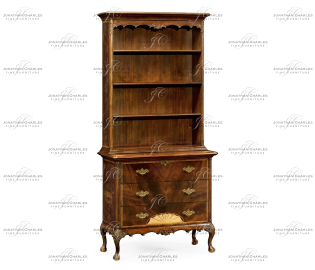 small rushmore Tall Mahogany Bookcase on Chest