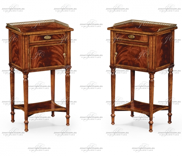 small rushmore Pair of Mahogany Bedside Cabinets with Brass Gallery