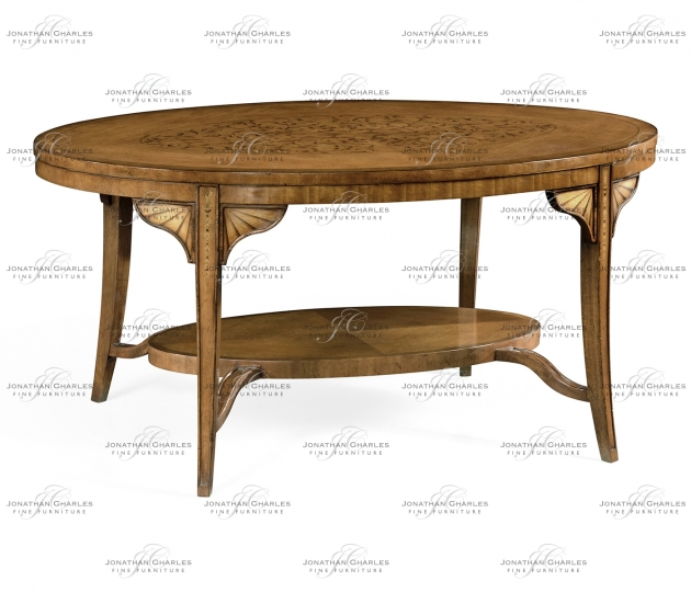 small rushmore Marquetry Inlaid Satinwood Coffee Table