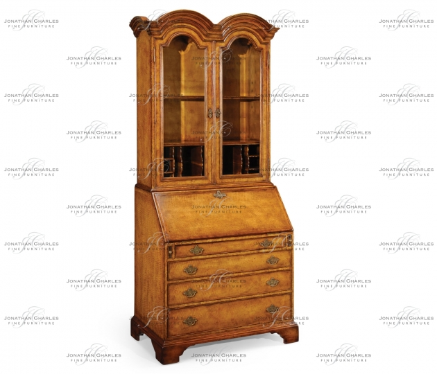 small rushmore Queen Anne Light Walnut Bureau Cabinet with Glass Doors