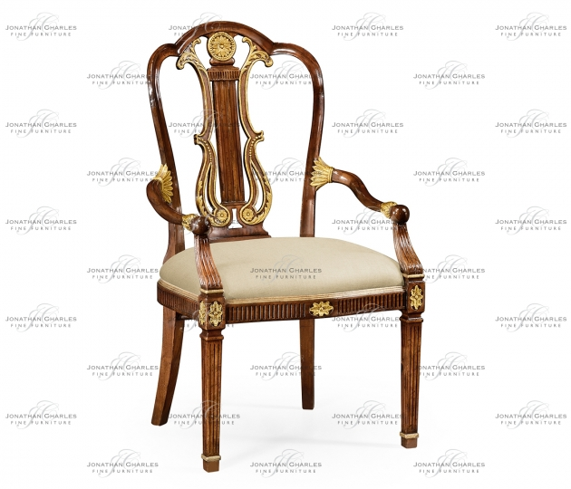 small rushmore Neo-classical gilded lyre back dining armchair