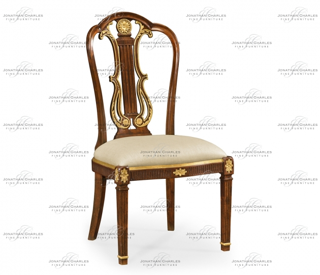 small rushmore Neo-classical gilded lyre back dining side chair